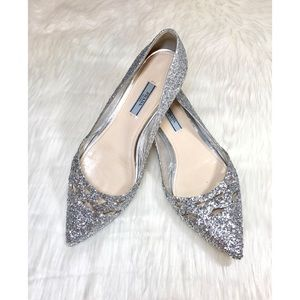 PRADA Platinum Glitter Ballerinas! ✨